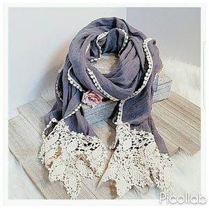 Accessories - Embroidered Trim Chambray Scarf